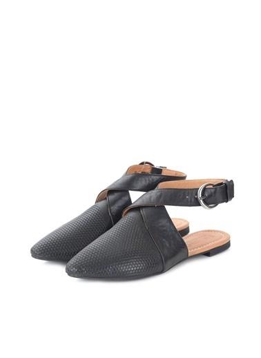 Ballerins Hakiki Deri El Yapımı Siyah Babet Blrs-105 Siyah